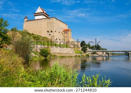 Fortress over the river. Narva. Estonia, Europe - stock photo