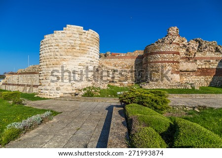 Fortress wall of the old town of Nessebar  - stock photo