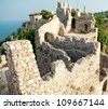 fortress walls in Alania, Turkey - stock photo