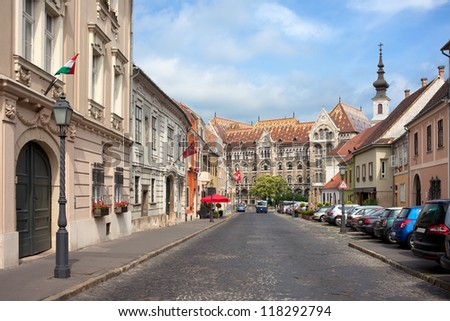 Fortuna street in Castle District, Budapest, leading to the National Archives of Hungary. - stock photo