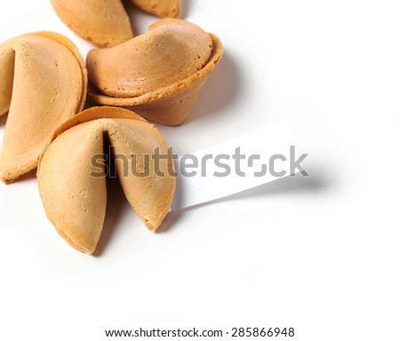 Fortune cookie on a white background - stock photo
