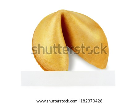 Fortune cookie with  a message on a white background - stock photo