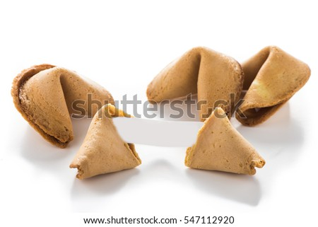 Fortune cookie with blank paper on white background