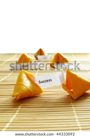 fortune cookie with success message, over white - stock photo