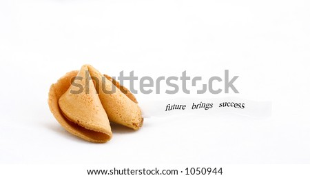 "fortune cookie with text  saying :""future brings success"" - stock photo"