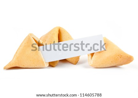 Fortune cookies with blank slip isolated on white background - stock photo