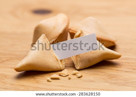 fortune cookies with message note - stock photo