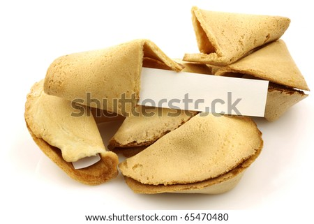 fortune cookies with room for your text on a white background - stock photo