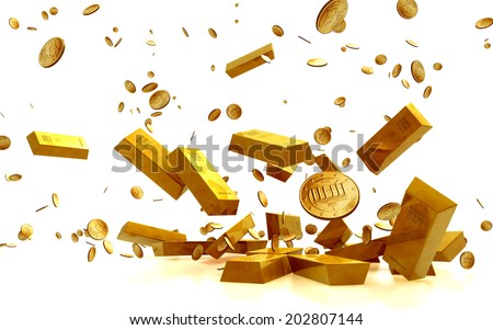 Fortune in  Golden Bars, golden Coins isolated on white background. Business Financial Concept  - stock photo