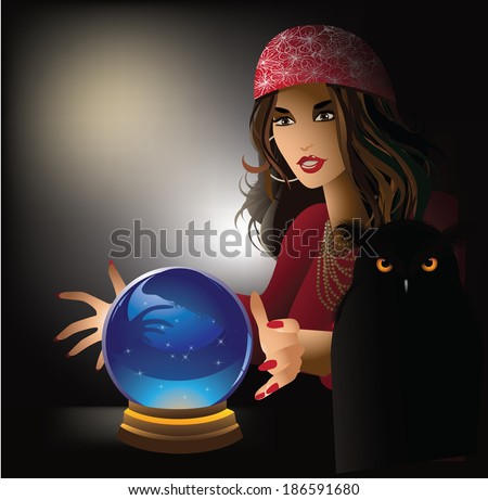 Fortune teller with pet owl.  - stock photo