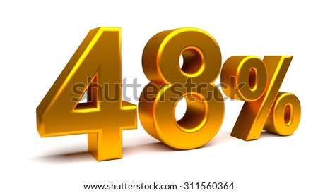 Forty eight percents 3D text, with big golden fonts isolated on white background. Rendered illustration.