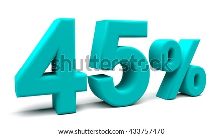 Forty five percents 3D text, with big fonts isolated on white background. 3D rendering.