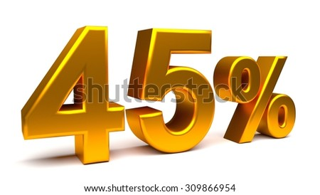 Forty five percents 3D text, with big golden fonts isolated on white background. Rendered illustration.