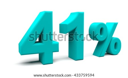 Forty one percents 3D text, with big fonts isolated on white background. 3D rendering.