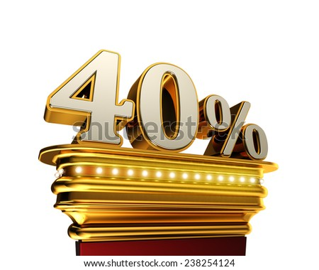 Forty percent figure on a golden platform with brilliant lights over white background - stock photo