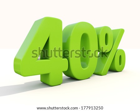 Forty percent off. Discount 40%. 3D illustration. - stock photo