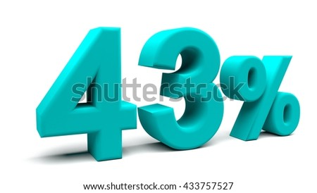 Forty three percents 3D text, with big fonts isolated on white background. 3D rendering.