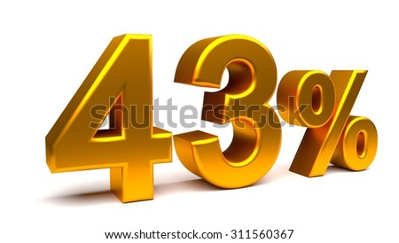 Forty three percents 3D text, with big golden fonts isolated on white background. Rendered illustration.