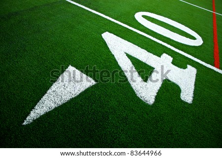 Forty yard line on artificial turf - stock photo