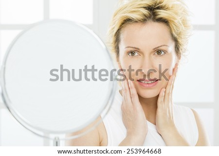 Forty years woman care - stock photo