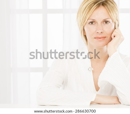 Forty years woman portrait - stock photo