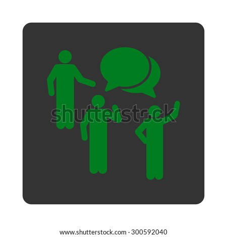 Forum icon. This flat rounded square button uses green and gray colors and isolated on a white background. - stock photo