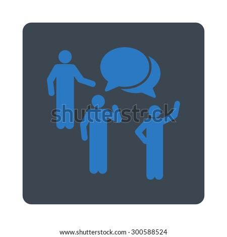 Forum icon. This flat rounded square button uses smooth blue colors and isolated on a white background. - stock photo