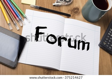 Forum - Note Pad With Text On Wooden Table - with office  tools
