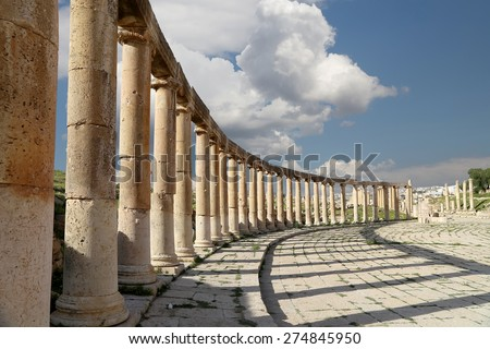 Forum (Oval Plaza)  in Gerasa (Jerash), Jordan.  Forum is an asymmetric plaza at the beginning of the Colonnaded Street, which was built in the first century AD      - stock photo