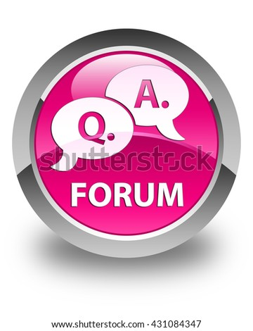 Forum (question answer bubble icon) glossy pink round button