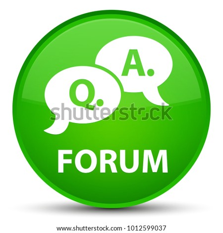 Forum (question answer bubble icon) isolated on special green round button abstract illustration
