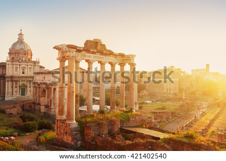 Forum - Roman ruins with cityscape of  Rome with sunrire light, Italy - stock photo