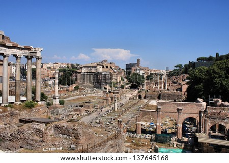 Forum romanum. Ancient ruins in Rome, Italy