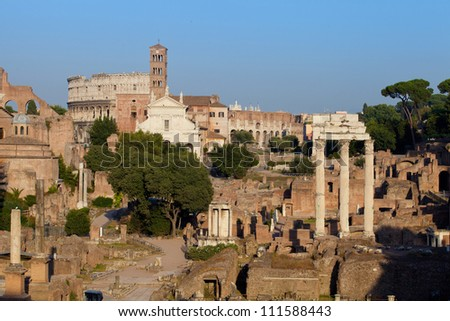 Forum Romanum and Colosseum at sunset, Rome, Italy