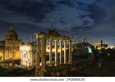Forum Romanum at night, Rome, Italy - stock photo