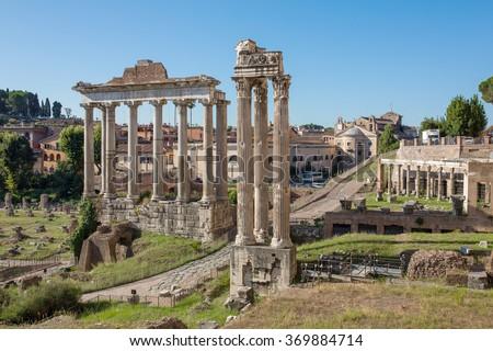 Forum Romanum in Italy, Rome. - stock photo