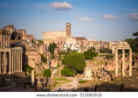 Forum Romanum with Colosseum in background, Rome, Italy