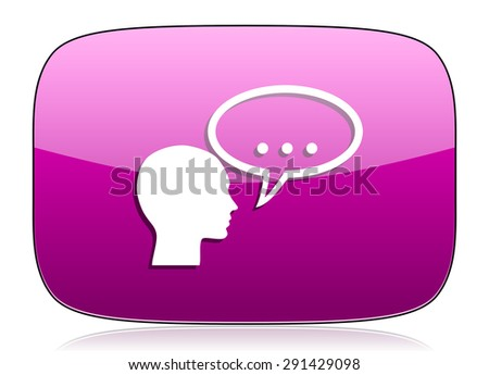 forum violet icon chat symbol bubble sign original modern design for web and mobile app on white background with reflection  - stock photo
