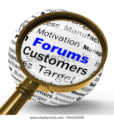 Forums Magnifier Definition Meaning Online Discussion Chatting Or Global Communication - stock photo