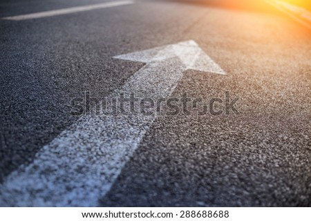 Forward igns on the road Forward and right signs on the road - stock photo