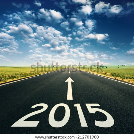 Forward to 2015 new year. Concept on empty, open road on idyllic day - stock photo