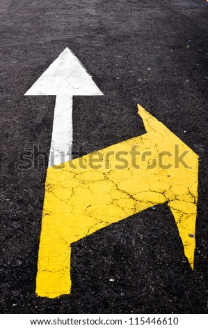 Forward white and right yellow sign - stock photo