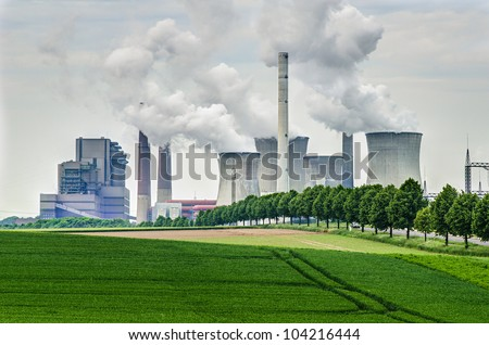 fossil energy power plant - stock photo