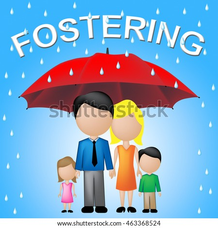 Fostering Family Showing Adoption Parasol And Guardianship