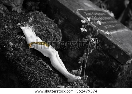 found still life at an old German cemetery - stock photo