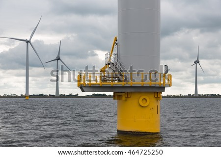 Foundation big Dutch wind turbine in the sea