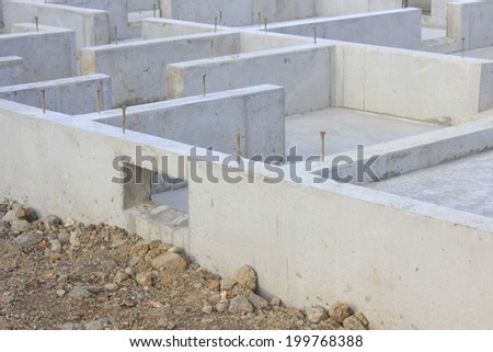 Foundation Construction Of New Homes - stock photo