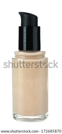 Foundation cream isolated on white - stock photo