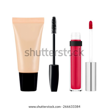 foundation, mascara, lipgloss isolated on white background - stock photo