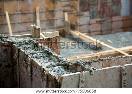 Foundation of a house under construction